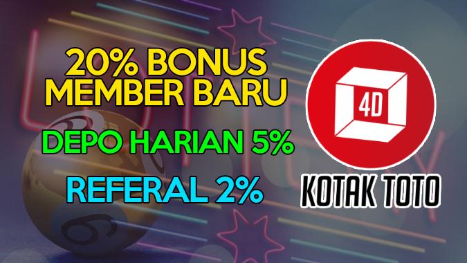 Dapatkan Bonus Member Baru 20% Di Situs Togel Terpercaya Kotaktoto